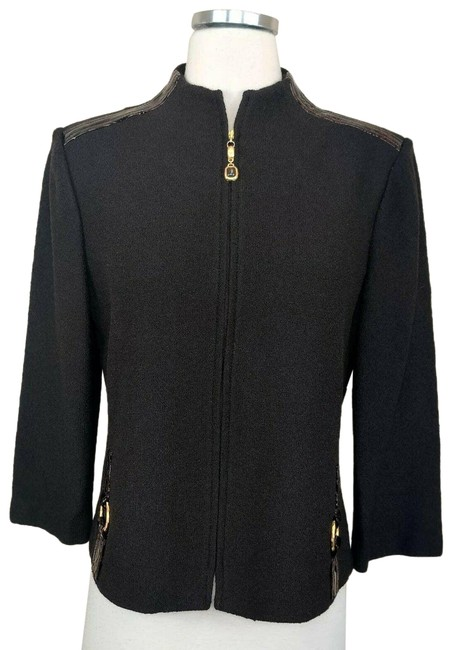 Item - Brown Collection Knit Leather Trim Jacket Size 8 (M)