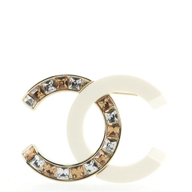 Item - Gold White Cc Brooch Resin and Crystal Embellished Metal