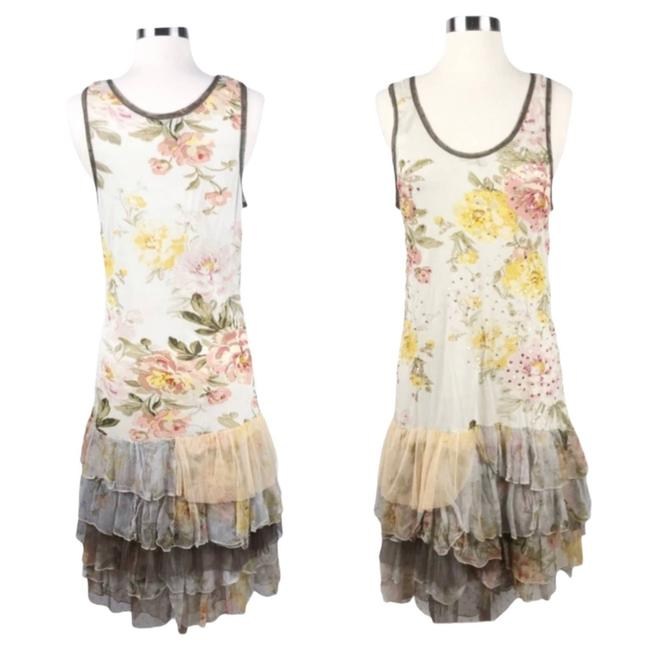 Item - Cream Jersey Floral Sequins Tulle Ruffled Hem Small Euc Mid-length Cocktail Dress Size 6 (S)