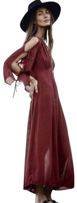 Item - Red Nwot Maroon Boho Prettiest Thing Gauzy Cut Out Long Casual Maxi Dress Size 6 (S)