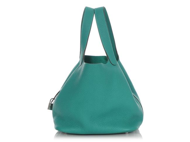 Item - Picotin Vert Verone Clemence Lock 22 Green Leather Tote