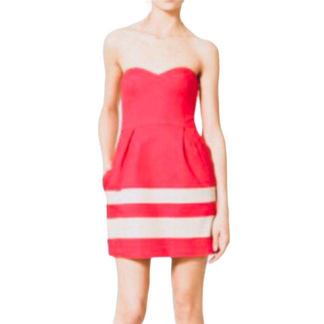 "Item - Pink Red Trf Strapless Wmns ""excellent"" Short Casual Dress Size 8 (M)"
