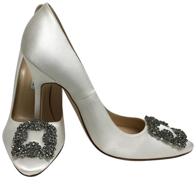 Item - White Satin Hangisi Pumps Size EU 38 (Approx. US 8) Regular (M, B)