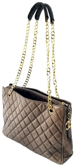 Item - Timeless Tote Vintage Logo Diamond Quilted Taupe Lambskin Leather Shoulder Bag