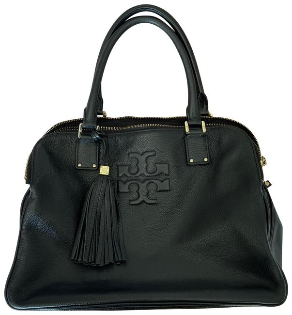 Item - Thea Triple Black with Gold Hardware Leather Satchel