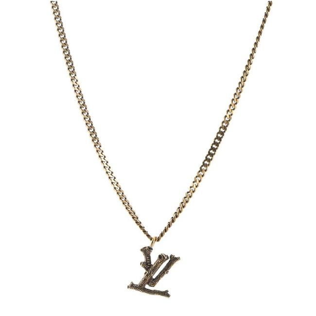 Item - Gold Lv Wood Pendant Metal Necklace