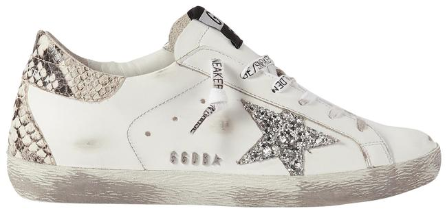 Item - White Superstar Distressed Glittered and Python-effect Leather Sneakers Size EU 35 (Approx. US 5) Regular (M, B)