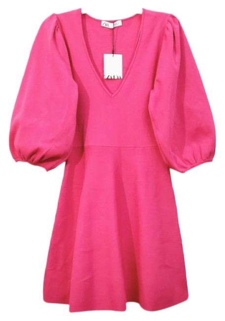 Item - Fuchsia Pink Balloon Sleeve Mini Short Casual Dress Size 12 (L)