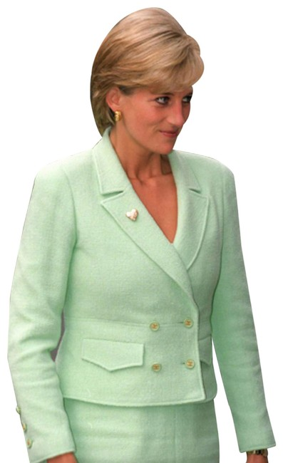 Item - Green Diana Iconic Vintage Princess Spring 1997 Tweed 97p Jacket Skirt Suit Size 4 (S)