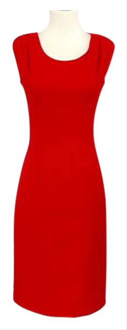 Item - Red Sleeveless Gold Metal Epaulet Mid-length Work/Office Dress Size 2 (XS)