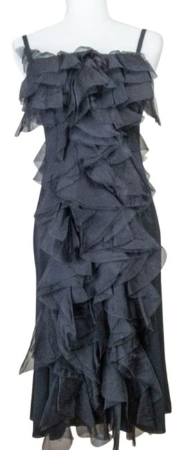 Item - Black Silk Ready To Wear 2012 Mid-length Cocktail Dress Size 6 (S)