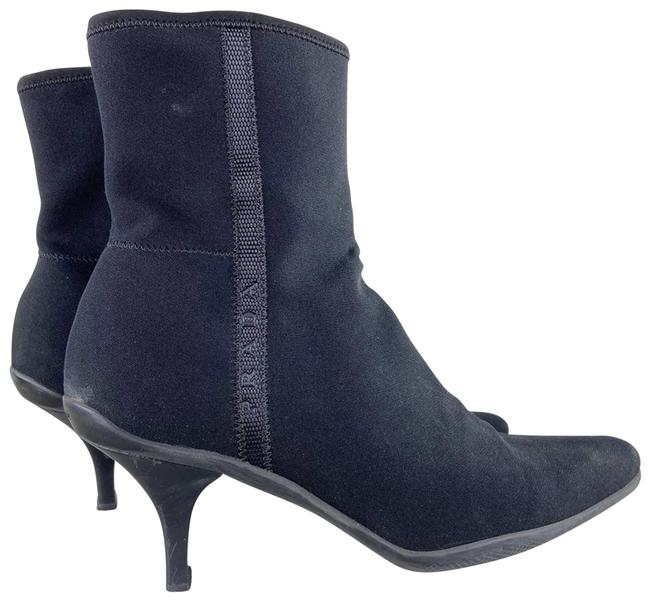 Item - Black Nylon Spellout Logo Heeled Ankle Boots/Booties Size EU 39 (Approx. US 9) Regular (M, B)