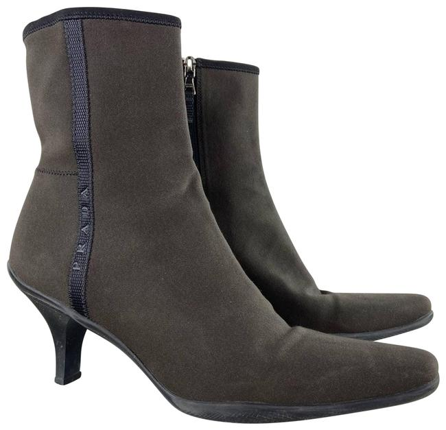 Item - Brown Nylon Spellout Logo Heeled Ankle Boots/Booties Size EU 39 (Approx. US 9) Regular (M, B)