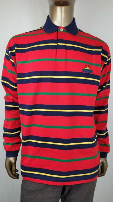 Item - Red L Striped Cotton Bee Patch Long Sleeve Polo 545795 6057 Shirt