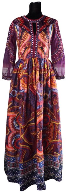 Item - Purple Maren Embroidered Maxi New Long Night Out Dress Size 4 (S)