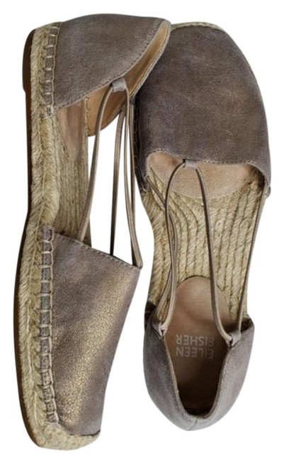 Item - Metallic Gold/Pewter Lee Flat Espadrille Sandals Size US 7.5 Regular (M, B)