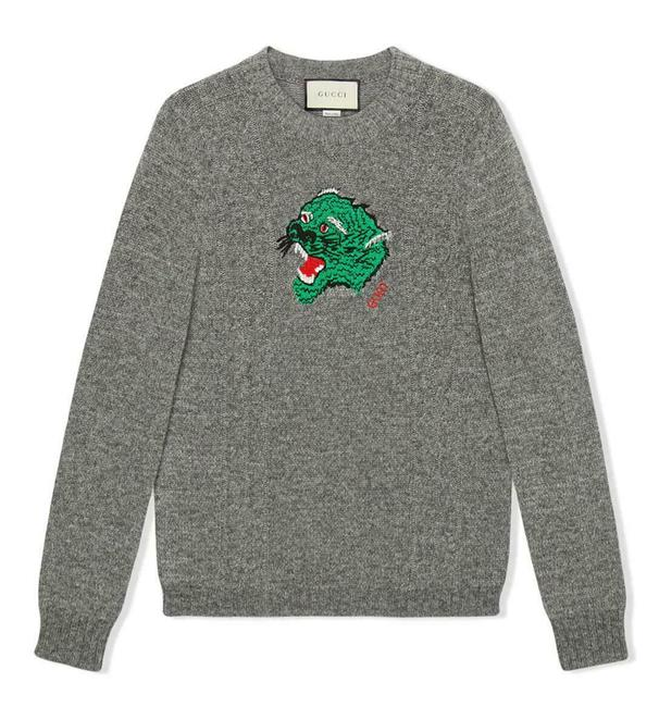 Item - Gray L Wool/Cashmere Knit Tiger Head Pullover Sweater 545682 1069 Groomsman Gift