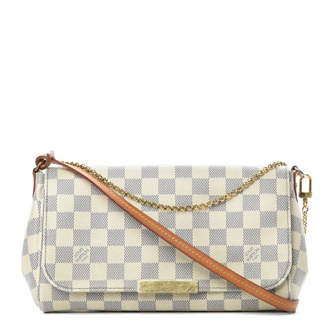 Item - Favorite Damier Azur Mm White Canvas Shoulder Bag
