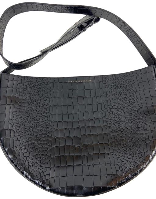 Item - Croc Black Crocodile Skin Leather Cross Body Bag