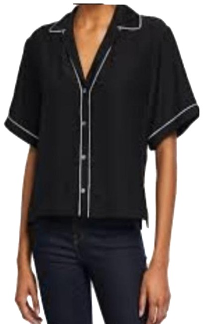 Item - Black Hammered Silk Cropped Blouse Size 10 (M)
