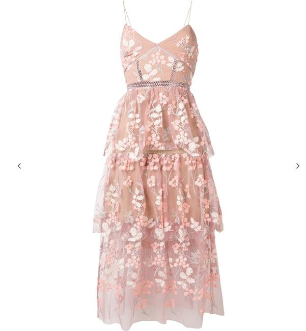 Item - Pink Floral Lace Mid-length Cocktail Dress Size 4 (S)