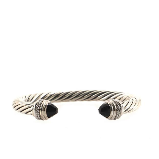 Item - 18k White Gold Cable Classic Sterling Silver with Onyx and Diamonds 7mm Bracelet