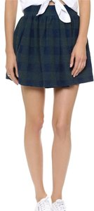 Free People Pleated Tartan Navy Plaid Mini Skirt Navy/green