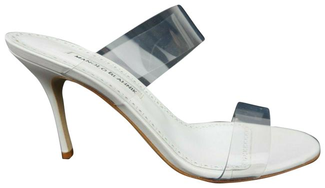 Item - White Pvc Scolto 90 Leather Transparent Strap Sandal Mules/Slides Size EU 39 (Approx. US 9) Regular (M, B)