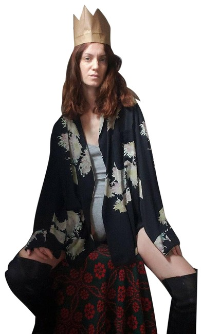 Dries van Noten Black Kimono Silk Large Blouse Size 12 (L) Dries van Noten Black Kimono Silk Large Blouse Size 12 (L) Image 1