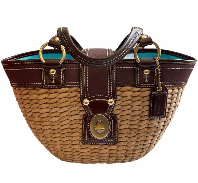 Item - Legacy Leather Beige/Brown Straw Tote