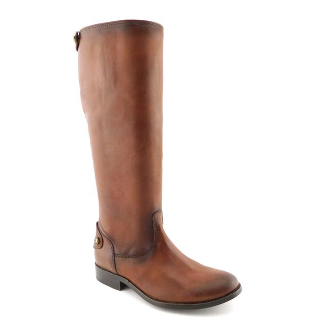 Item - Cognac Brown Leather Logo Button Riding Style Boots/Booties Size EU 35.5 (Approx. US 5.5) Regular (M, B)