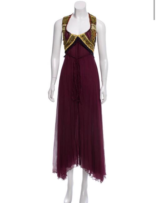 Item - Burgundy Silk Embroidered Long Casual Maxi Dress Size 2 (XS)