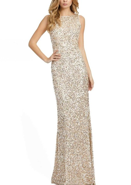 Item - Silver/Nude Sequined Open-back Gown Long Formal Dress Size 14 (L)