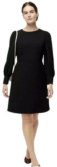 Item - Black Long Sleeve Button Cuffed Detail Women's Mid-length Work/Office Dress Size 4 (S)