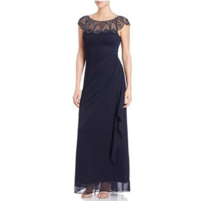 Item - Blue Silver New Beaded Illusion Neck Cap Sleeve Ruched Gown Long Formal Dress Size 4 (S)