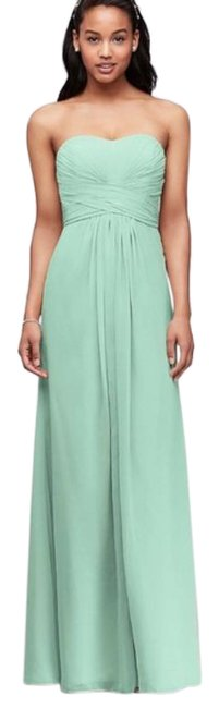 Item - Green Blue New Strapless Chiffon with Pleated Bodice Long Formal Dress Size 0 (XS)