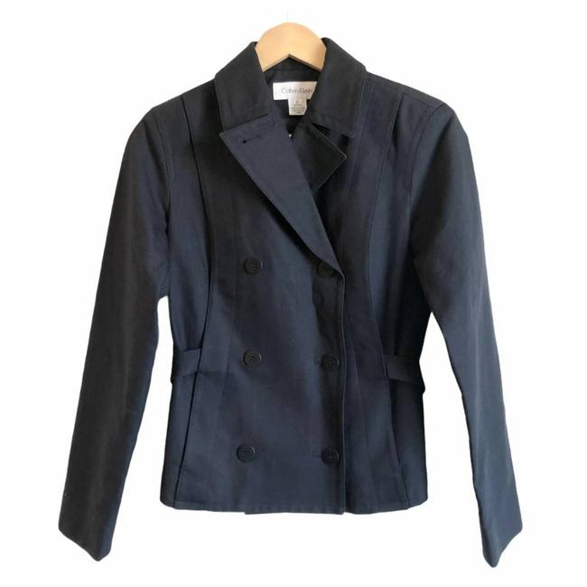 Item - Blue Navy Belted Double Breasted Jacket Size 2 (XS)