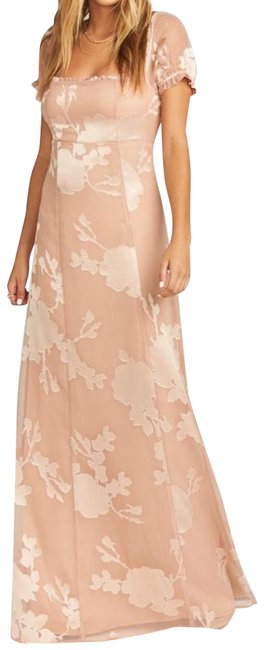 Item - Otherwise Engaged Blush Tan Brittany Maxi Short Sleeve Long Formal Dress Size 6 (S)