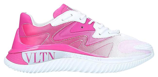 Item - White/Pink Vltn Wade Runner Textile and Leather Trainers Sneakers Size EU 40.5 (Approx. US 10.5) Regular (M, B)