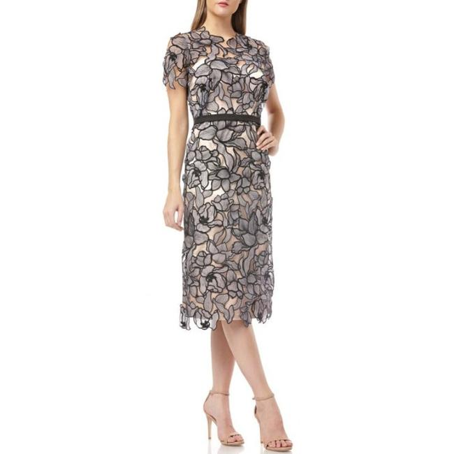 Item - Black Embroidered Lace Midi Mid-length Cocktail Dress Size 2 (XS)