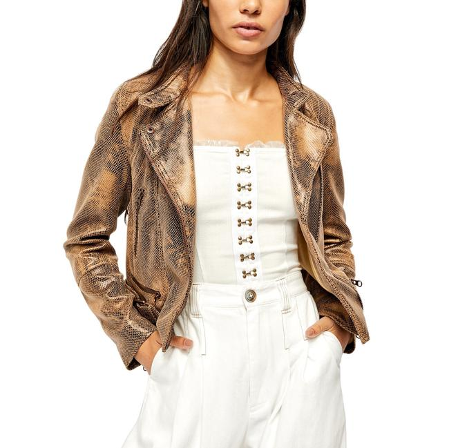 Item - Tan Fenix Snake Embossed Faux Leather Moto Jacket Size 2 (XS)