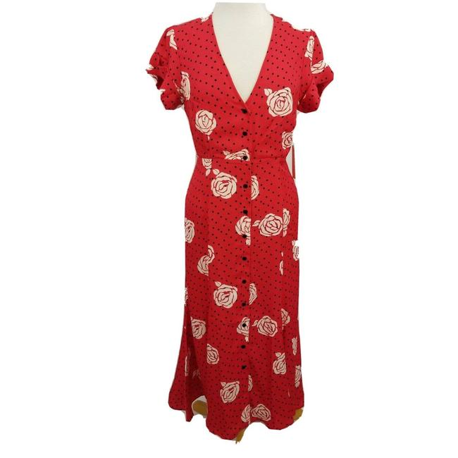 Item - Red Women's Lg Elie Button Up Roses Polka Dot Casual Maxi Dress Size 12 (L)