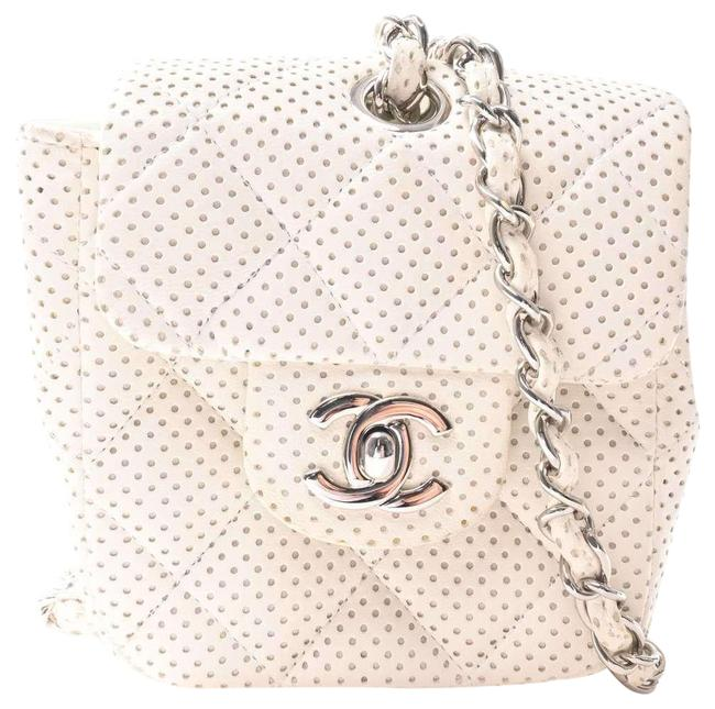Item - Punching Mini Matrasse Coco Mark Chain Pouch White Leather Shoulder Bag