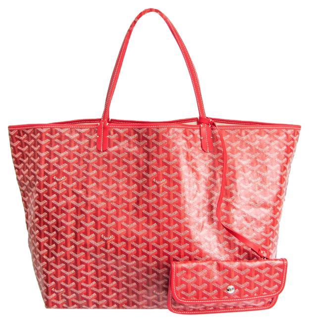 Item - Bag Saint Louis Gm Women's Brown / Red Color / White Leather / Coated Canvas Tote