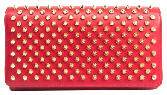 Item - Red Color Long Macaron Spike Studs 1165076 Women's Leather Studded (Bi-fold) Wallet