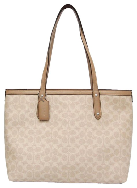 Item - Bag Central Signature with Zip 69422 Women's Beige / Cream Pvc / Leather Tote