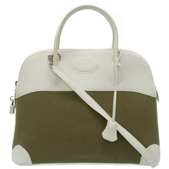 Item - Bored 37 Toile Gibesiere Silver Hardware 2way Shoulder Handbag Khaki / White Swift Leather Satchel