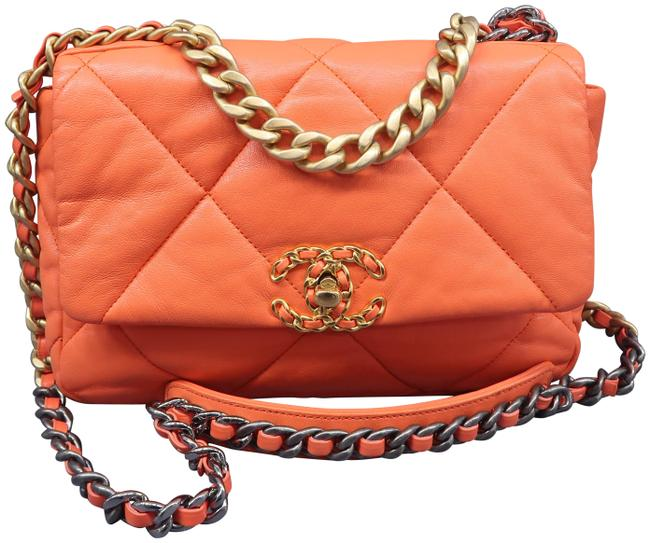 Item - Classic 19 Flap Small Orange Lambskin Leather Satchel