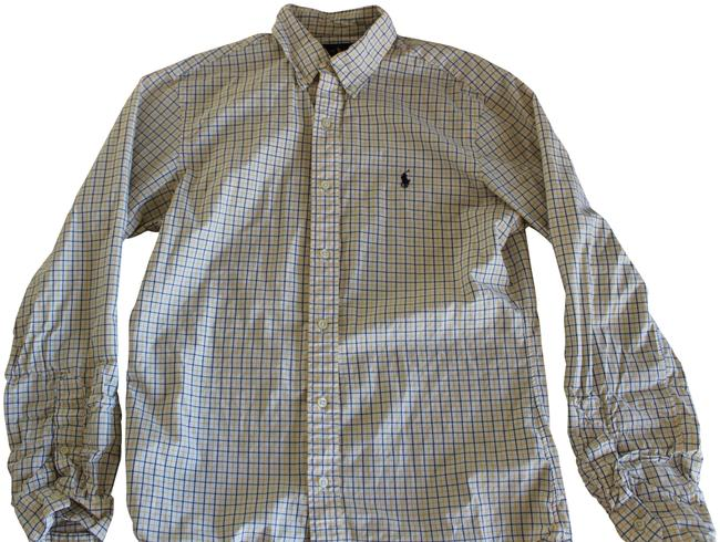 Item - White Blue Yellow Shirt Mens Slim Fit Button-down Top Size 8 (M)