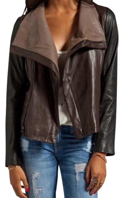 Item - Brown Colorblock Open Drape Jacket Size 2 (XS)
